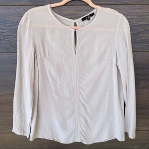 C. LUCE | Gray Keyhole Silky Long Sleeve Blouse